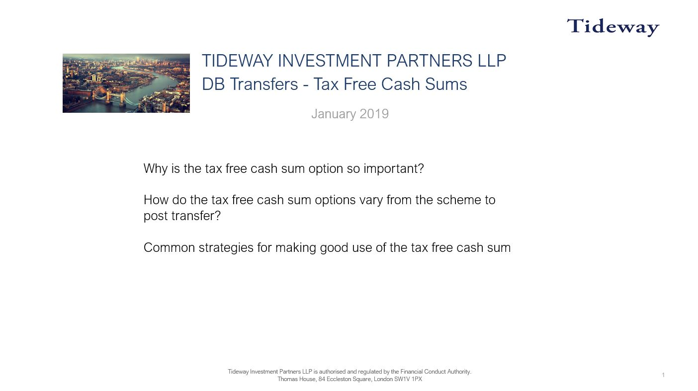 3. Tax Free Cash Sums